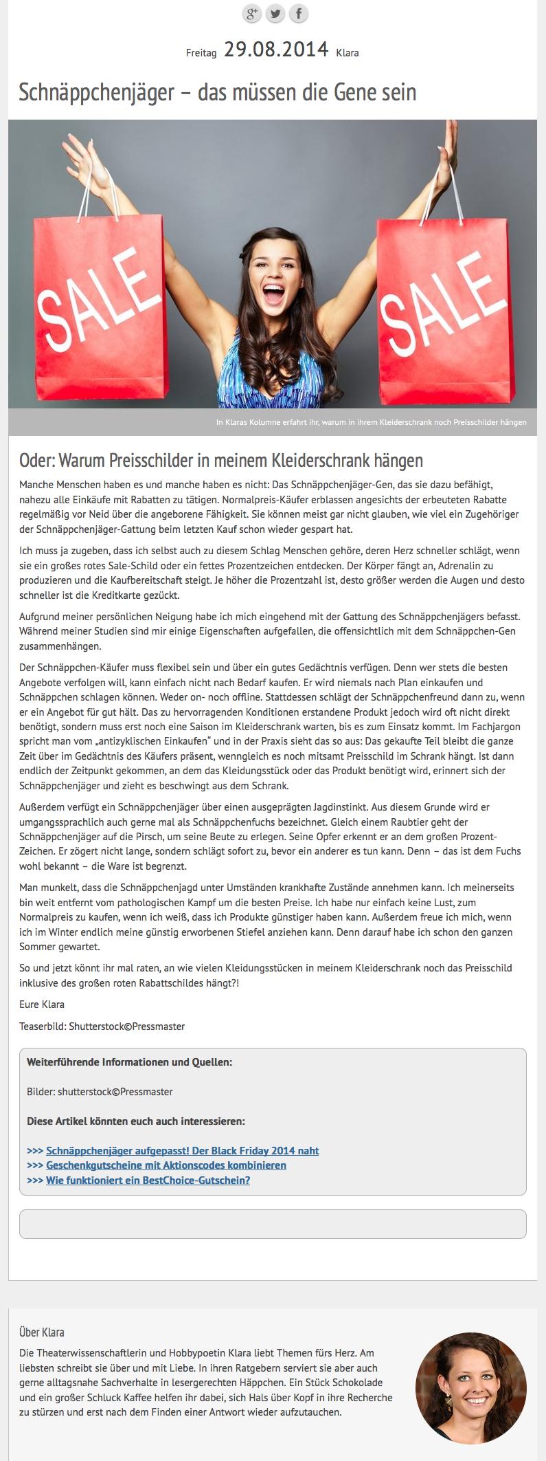 Klaras Kolumne über das Schnäppchenjäger-Gen 2015-10-19 11-30-53